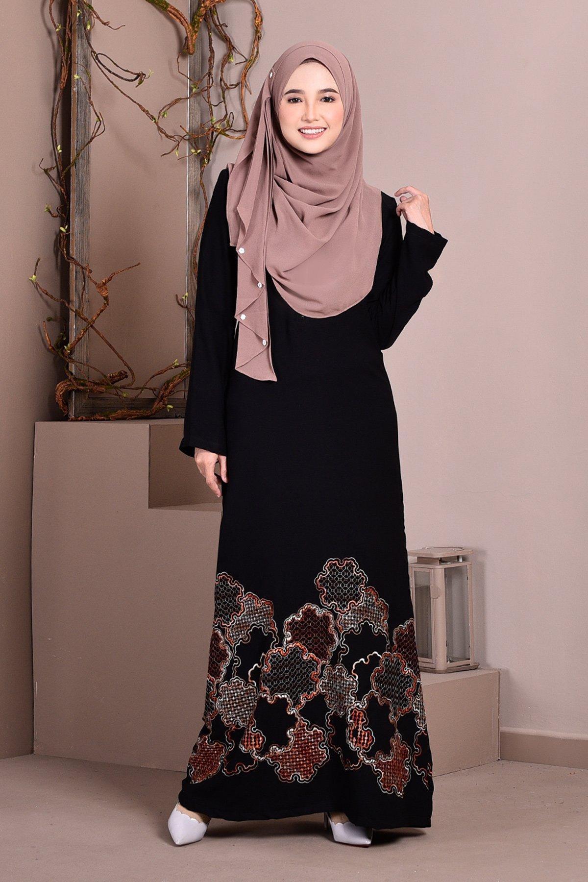 Abaya Dubai Embroidery Haza - Cinnamon Brown