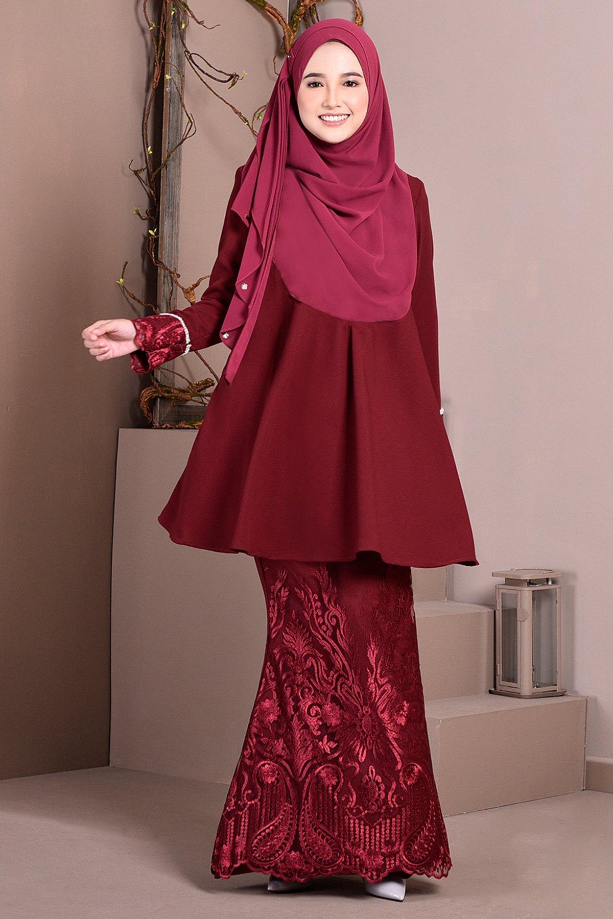 Baju Kurung Lace Aveth Ruby Maroon Muslimahclothing Com