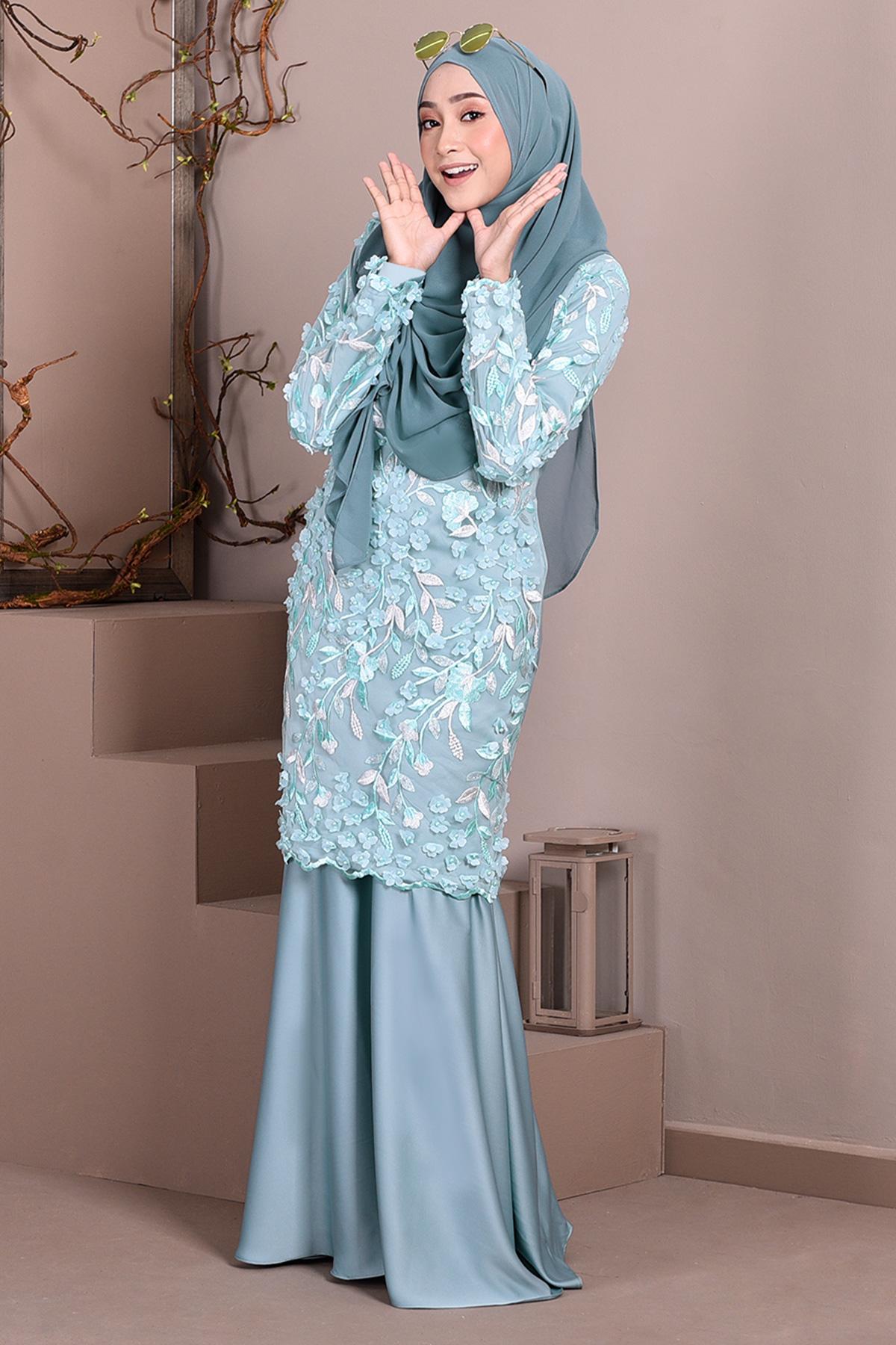 3bd44db10575 Baju Kurung Lace 3D Diana – Waikiki Green – MuslimahClothing.Com