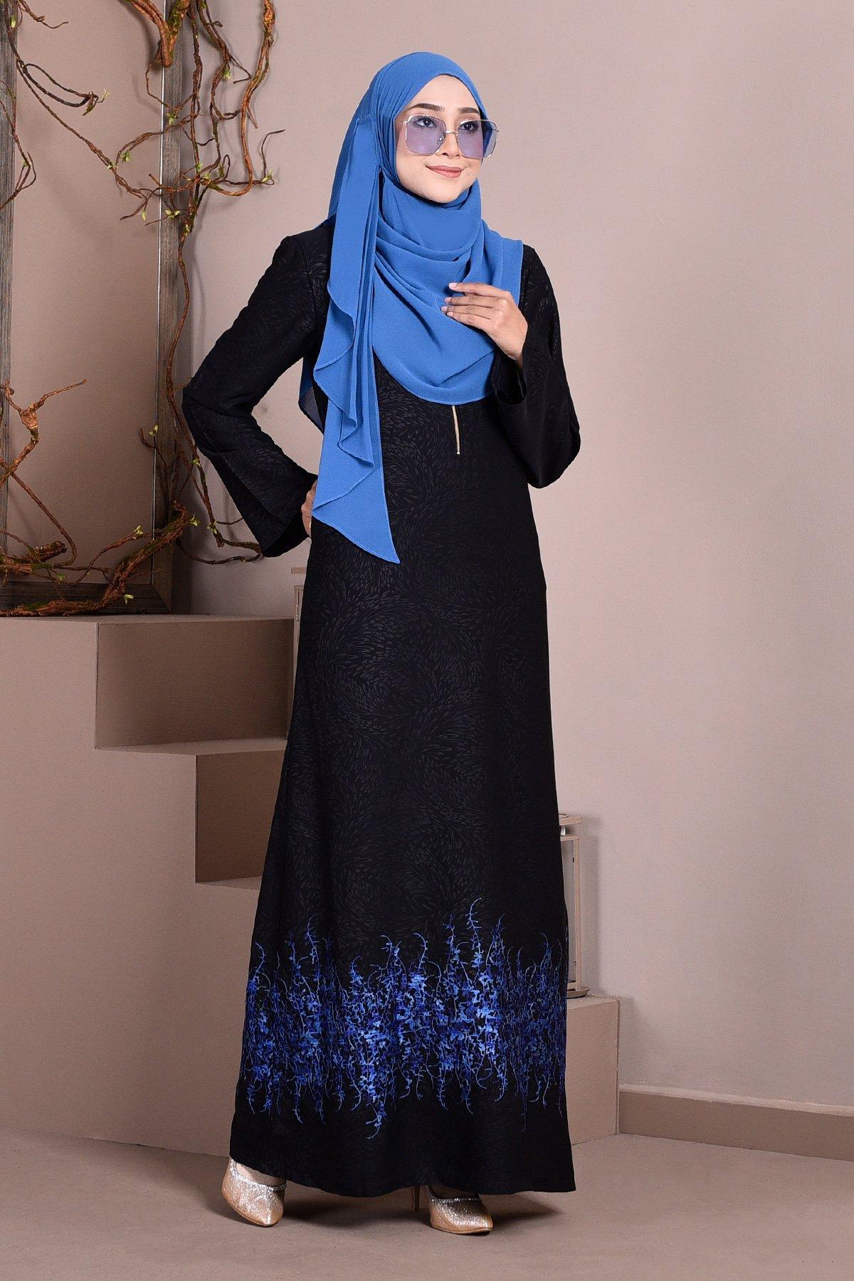 Abaya Dubai Embroidery Hijra - Azure Blue