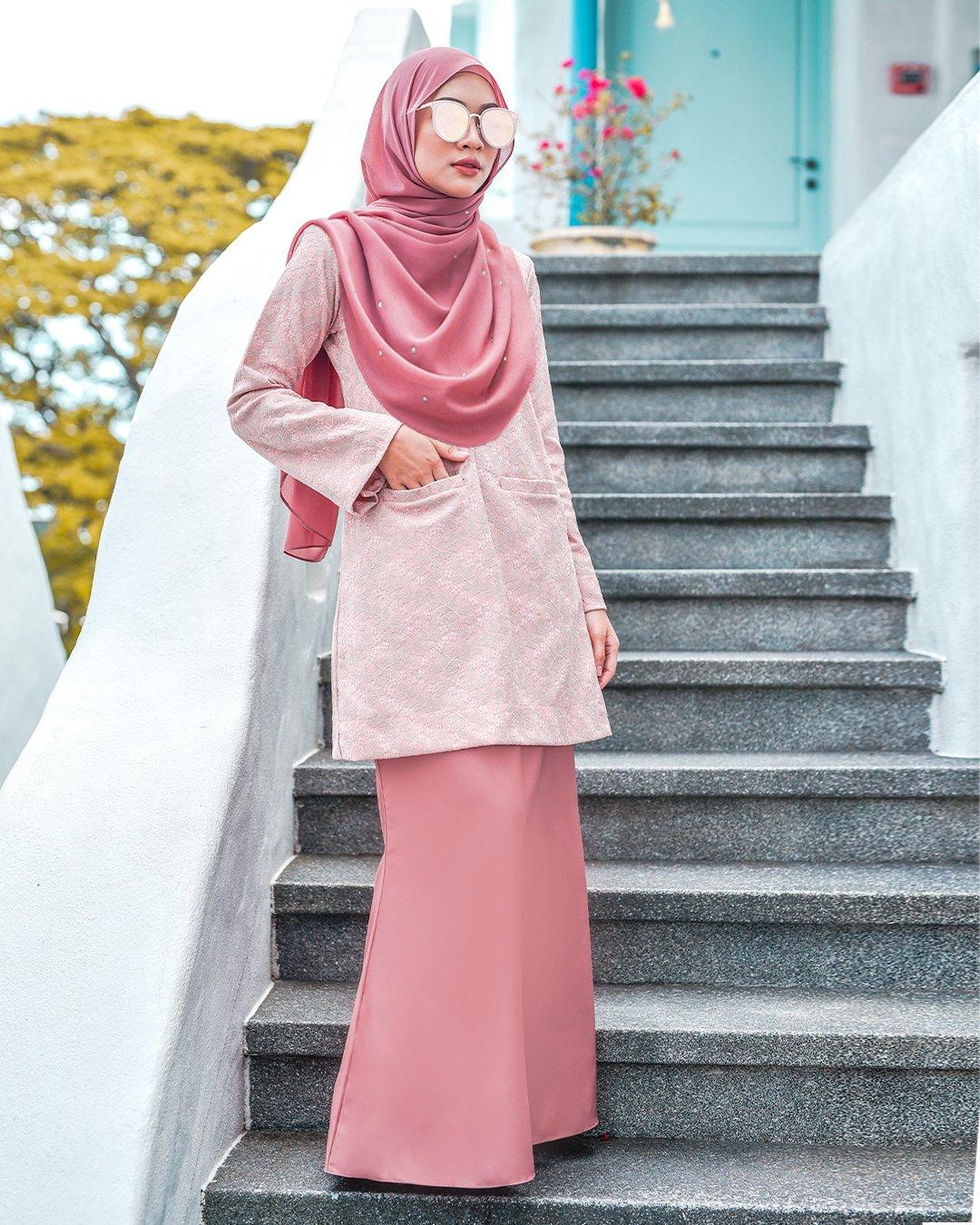 Baju Kurung Kedah Lace Gemima Cotton Pink Muslimahclothing Com