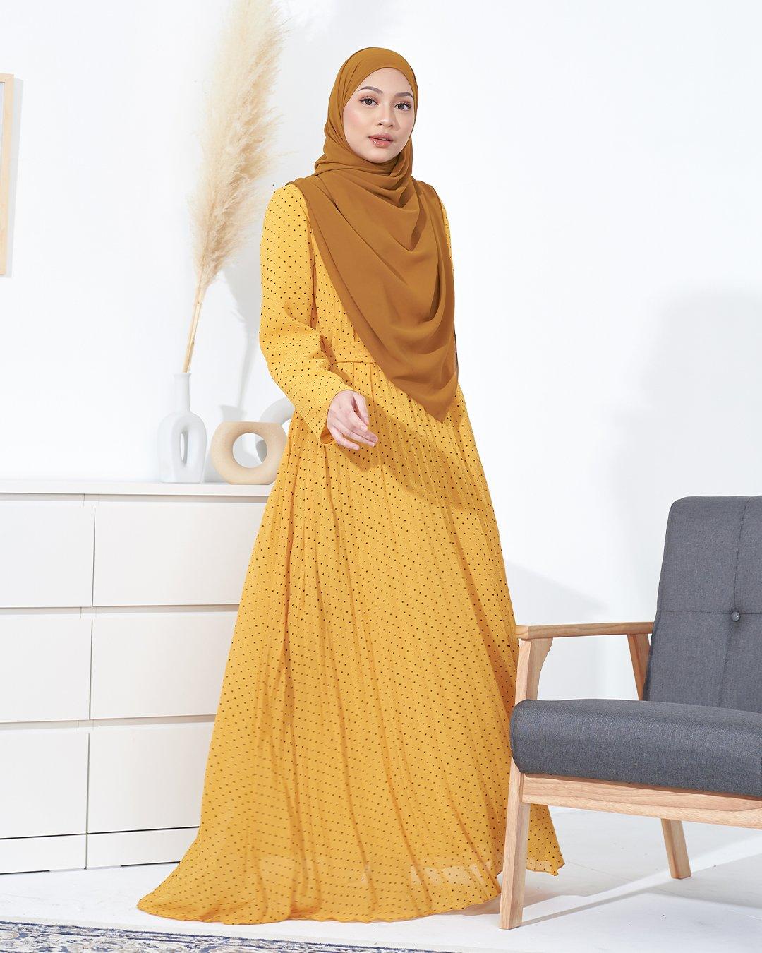 DRESS PLEATED TAHIRA-GOLD MUSTARD (2)