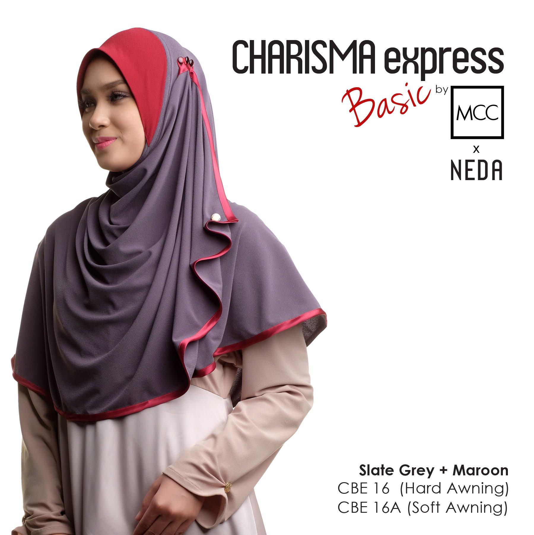 Tudung Charisma Express Basic Mcc X Neda Slate Grey