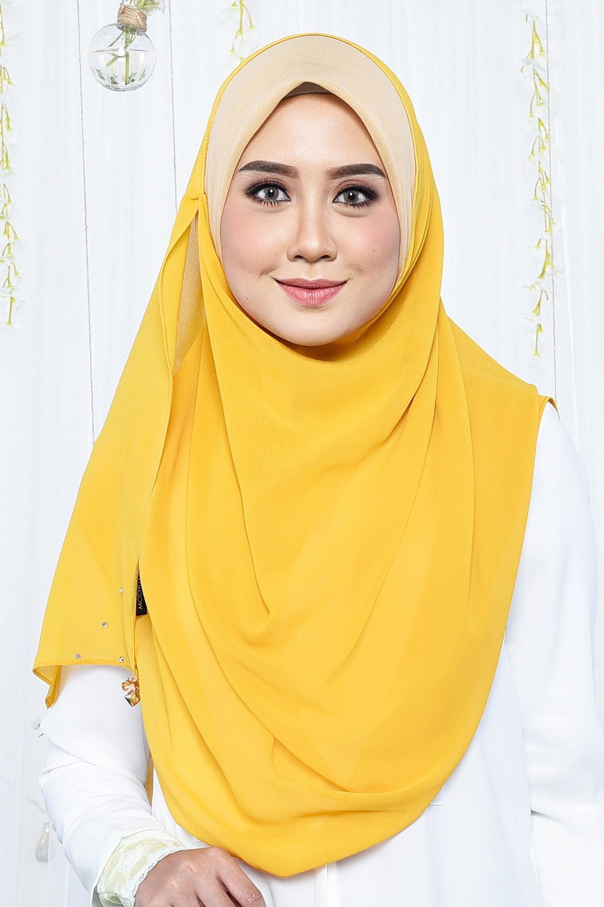 Tudung Bawal Instant Adell Exclusive Gold Mustard